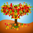 Abstract autumn tree drawing with colorful leafs. EPS 8 vector file included — Stock Vector