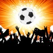Royalty-Free Stock Vector Image: Soccer ball with crowd silhouettes of fans. EPS 8