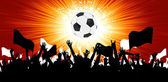 Soccer ball with crowd silhouettes of fans. EPS 8 — Stok Vektör