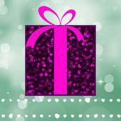 绿色光芒背景上的紫礼物。8 eps — 图库矢量图片