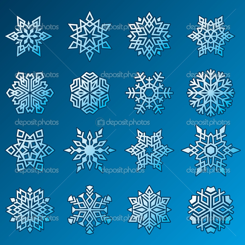 Set of Snowflakes Symbols on Blue Background. Vector illustration — Stock Vector #4311844