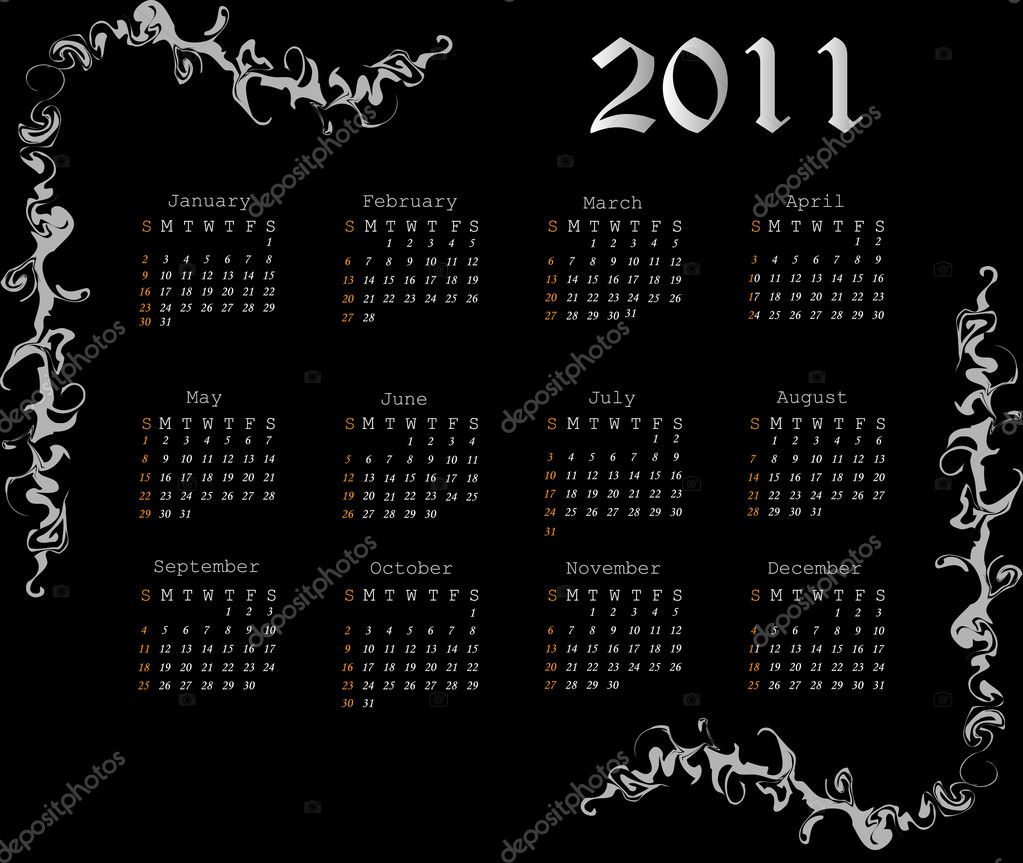 2011 Diamonds calendar. Vector poster. — Stock Vector #3957364