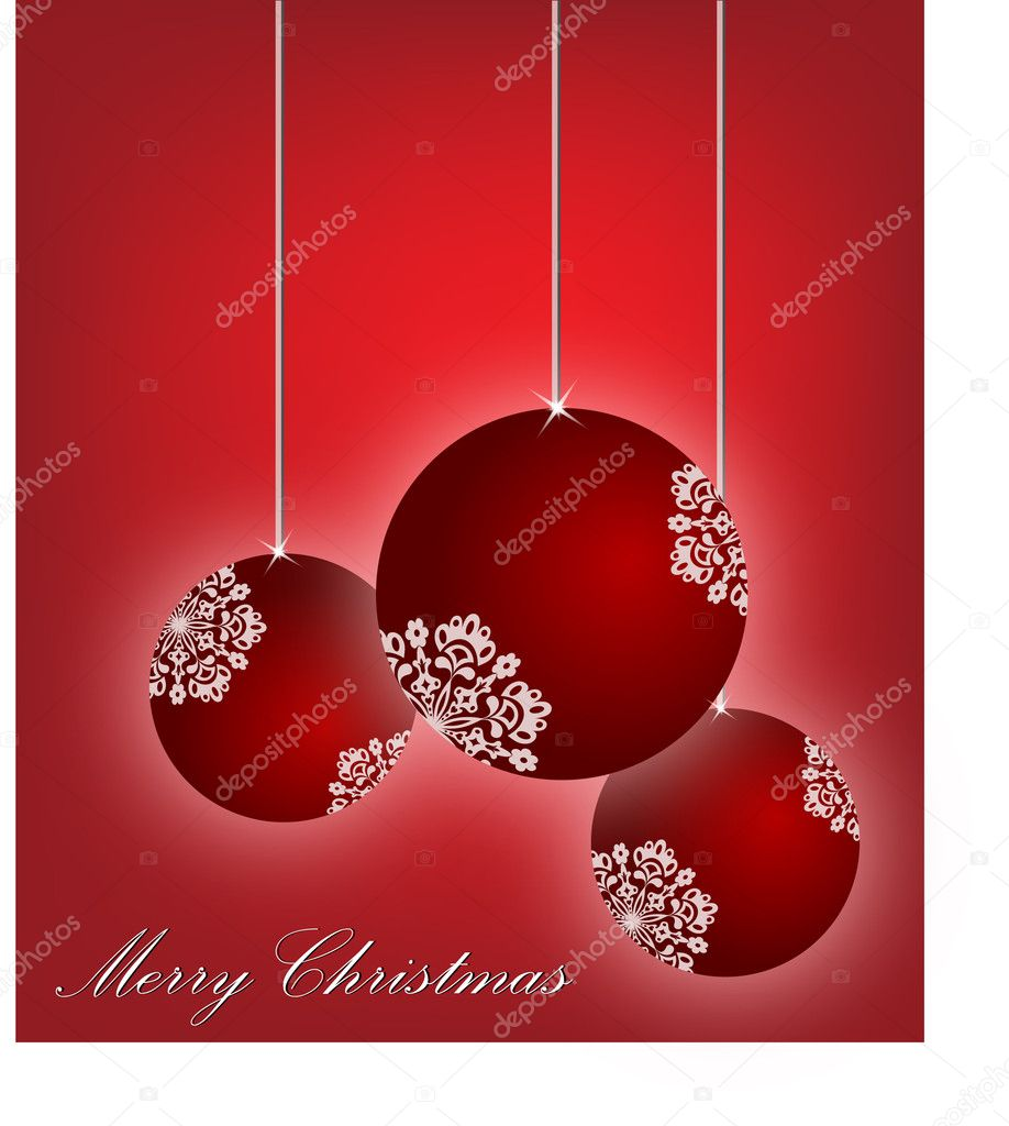 Beautiful red christmas baubles- a vector illustration — Stock Vector #4108073
