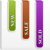 Set of paper tags for new, sold, sell — Stock Vector