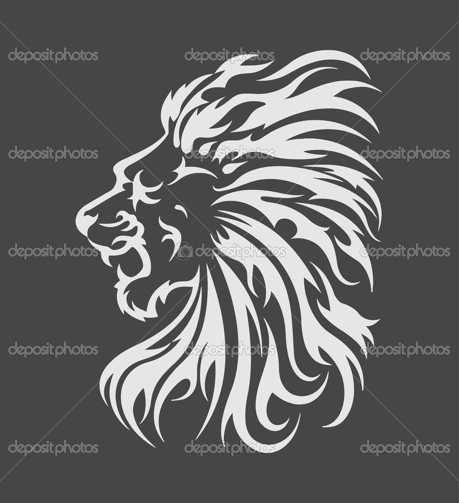 Abstract Lion In The Form Of A Tattoo — Vettoriali Stock  #4299021