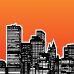 City Skyline Sunset — Stock Vector