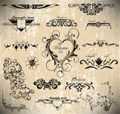 Vector set: calligraphic vintage design elements — Stock Vector