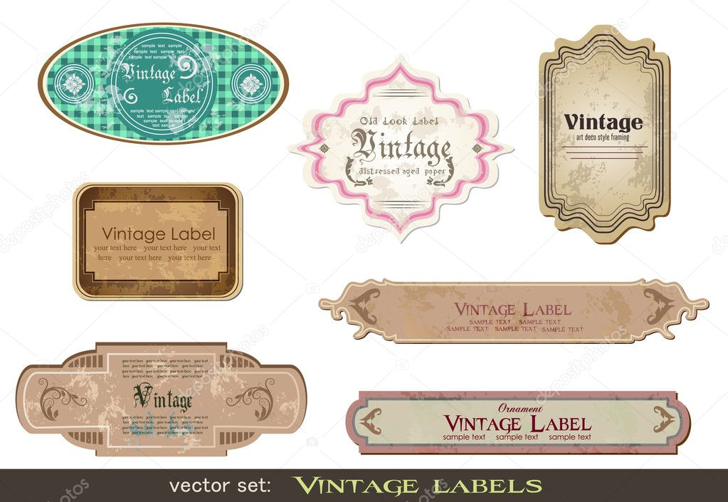 Set of vintage labels, scalable and editable vector illustrations; — ベクター素材ストック #5102813