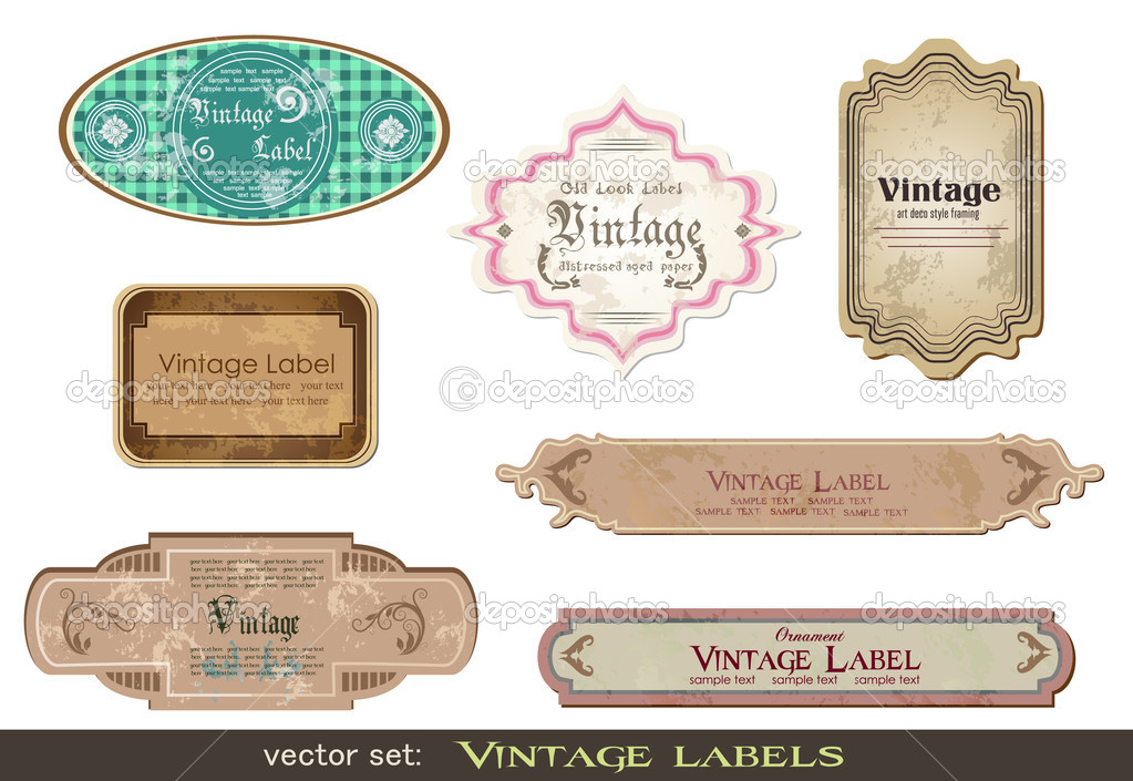 Set of vintage labels, scalable and editable vector illustrations; — Vettoriali Stock  #5102813