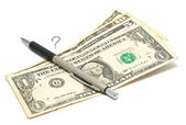 A lot of money, a pen and a question mark — Stock Photo