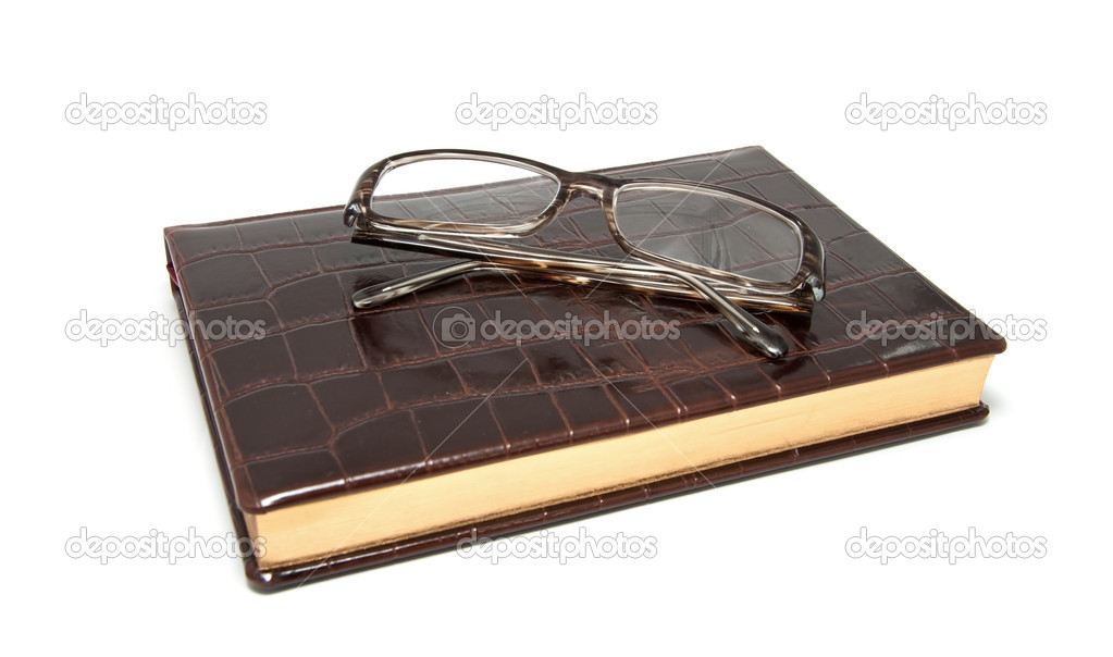 Leather diary and glasses on a white background — Stock Photo #4571990