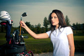 Golf girl — Stock Photo