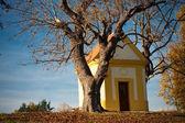 Wieś kaplica w jesieni — Zdjęcie stockowe