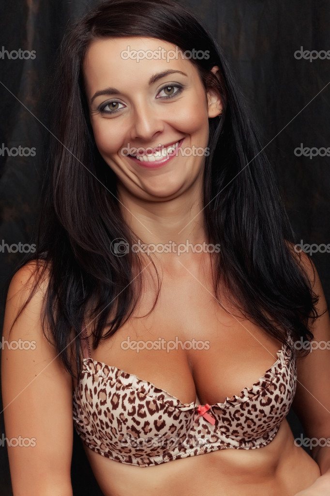 Attractive smile brunette girl in bra — Stock Photo #4360991
