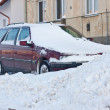 Car under winter snow — Stock Photo