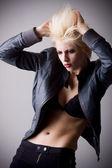 Emotive attractive punk blonde girl — Stock Photo