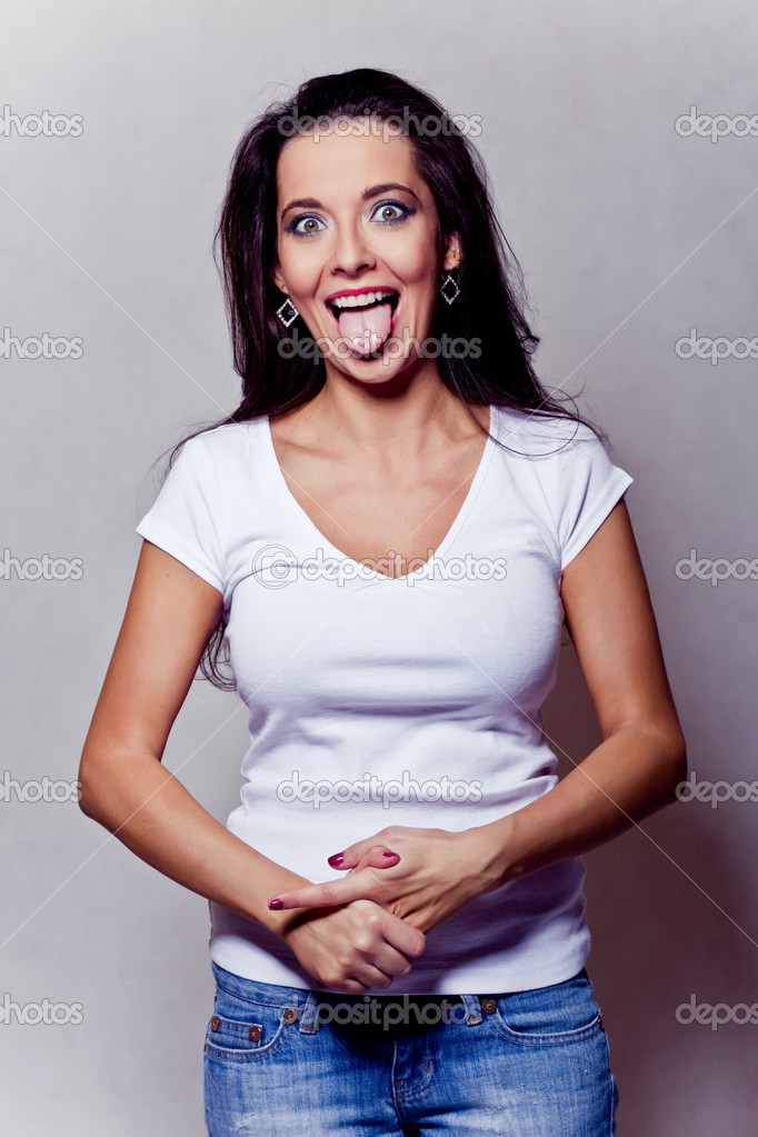 Attractive crazy brunette girl — Stock Photo #4614948