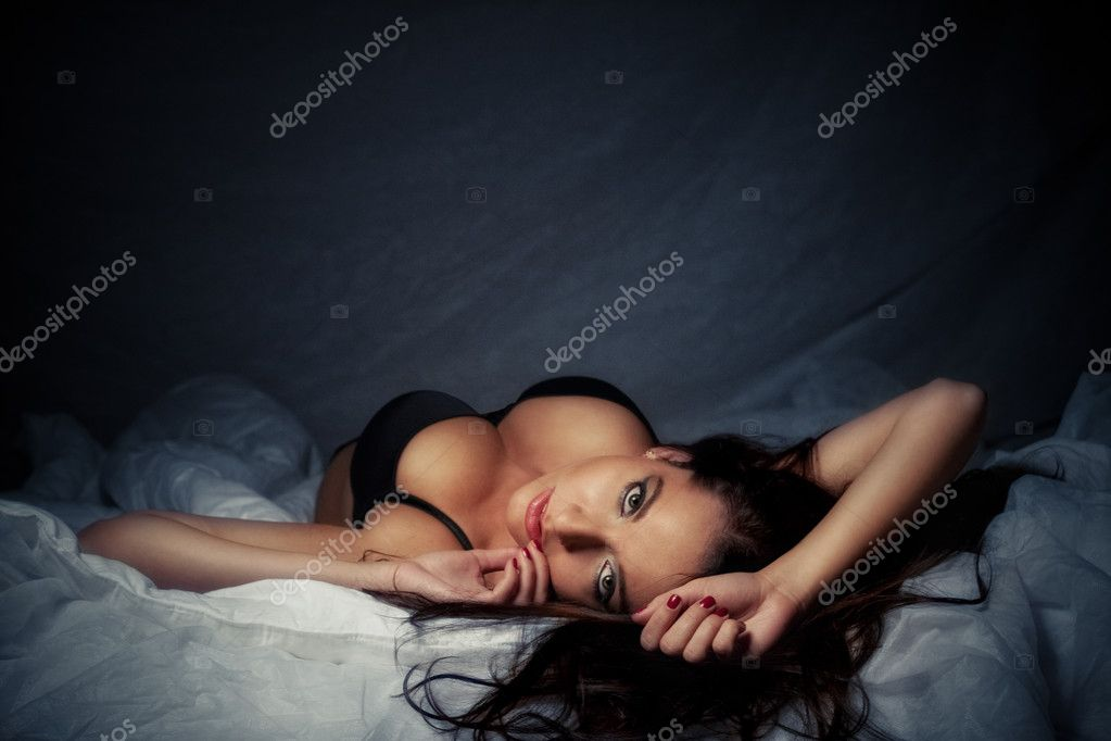 Attractive laying girl with big breasts — Stock Photo #4626122
