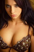 Attractive sexy girl in bra, big breasts — Stockfoto