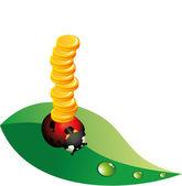 Ladybug money — Stock Vector
