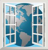 Window earth — Stock Vector