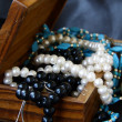 Royalty-Free Stock Photo: Jewelry pearls in a wooden chest