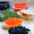 red and black caviar — Stock Photo