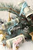 American dollars on the Christmas tree — Stock Photo
