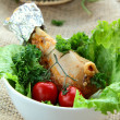 Fresh vegetable salad with chicken — Stock Photo