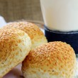 Fresh rolls with sesame seeds - Stock Photo