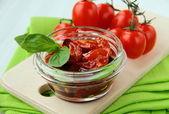 Italian sun dried tomatoes in olive oil — Stock Photo