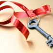 Old key with a red ribbon — Stock Photo