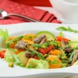 Salad with vegetables and meat grilled — Stock Photo
