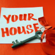 Old key with ribbon and with card — Foto de stock #4796633