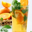 Tea with orange and branches of mint — Stockfoto