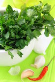 Green parsley in a mortar with garlic and pepper — Stock Photo