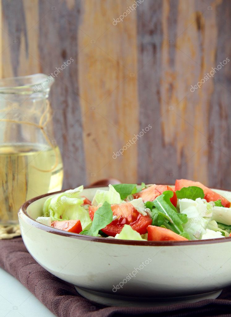 Greek Mediterranean salad with feta cheese, olives and peppers — Stock Photo #5115015