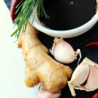 Stock Photo: Traditional asiingredients soy sause, ginger