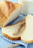 Fresh white bread with milk — Stock Photo
