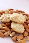 Amaretti macaroons on almond — Stock Photo
