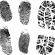 Fingerprints and bootprint — Stock Vector