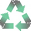 Dotted recycling symbol — Stock Vector