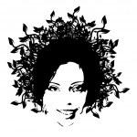 Floral woman face — Stock Vector