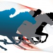 Stock Vector: Horse race