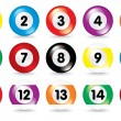 Billiard balls on white background — Stock Vector