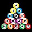 Arranged billiard balls on black background — Stock Vector