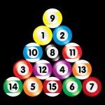 Arranged billiard balls on black background — Stock Vector
