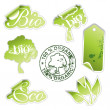 Green eco stickers — Stok Vektör #5291886