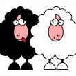 Funny black and white sheeps — Stock Vector #5291948