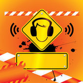 Ear protection must be worn background — Stock Vector